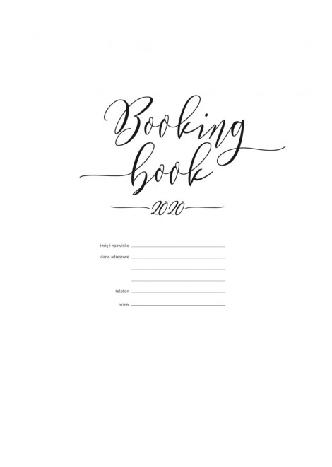 BOOKING BOOK Kalendarz 2020 WKŁAD